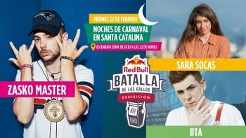 Regresa al Carnaval la «Red Bull Batalla de los Gallos Exhibición» con los improvisadores Zasko Master, Sara Socas y Bta