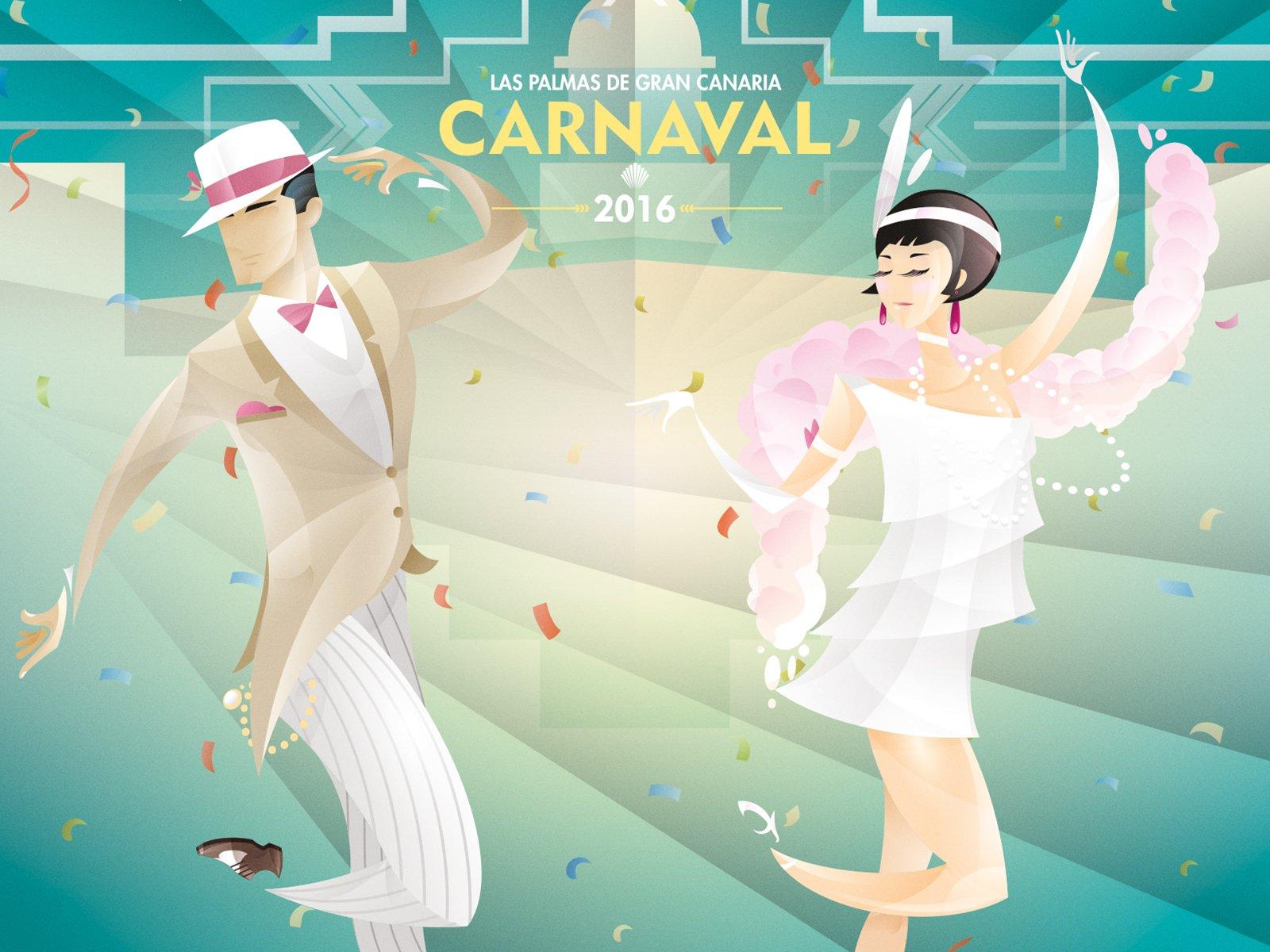 Un cartel evocador de los bailes de Los   locos años 20, obra de Waldemar Diseño y   Comunicación, será la imagen del Carnaval   2016 de Las Palmas de Gran Canaria